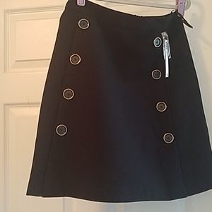NWT-Black skirt with black and gold button details